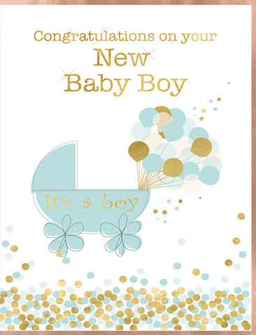New Baby Boy Card - 7 x 5 Inches - HerbysGifts.com