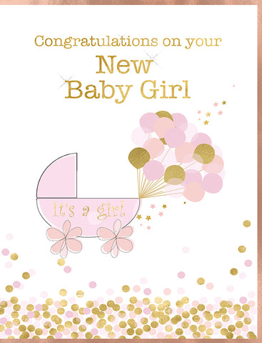 New Baby Girl Greeting Card - 7 x 5 Inches - HerbysGifts.com