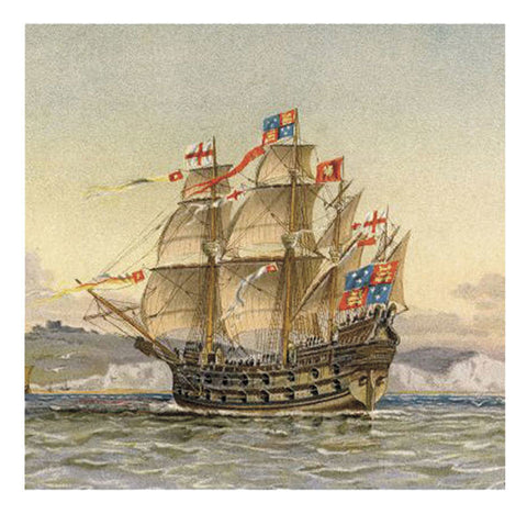 Tall Ship Greeting Card - The Great Harry - Blank Inside - 6.5 x 6 Inches - HerbysGifts.com