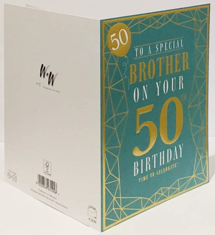 Brother 50th Birthday Card - HerbysGifts.com