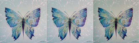 PACK of 3 - Arabesque Kimono Painted Silk Butterfly Greeting Card - HerbysGifts.com