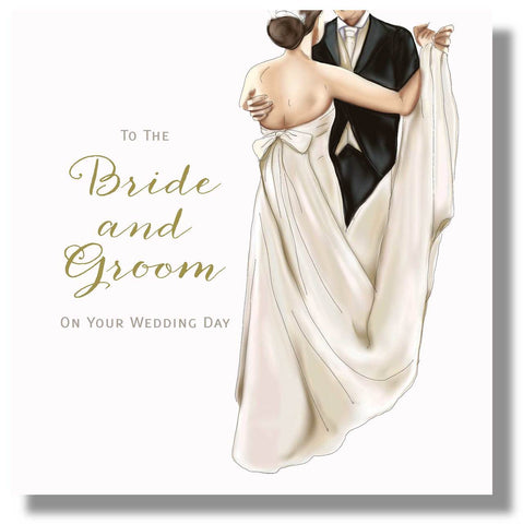 Wedding Day Card Bride and Groom - HerbysGifts.com - 8.25 x 8.25 Inches