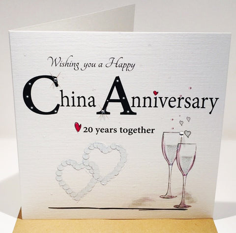 China Wedding Anniversary Card - 20th - HerbysGifts.com