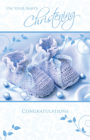 Baby Boy`s Christening Card - HerbysGifts.com