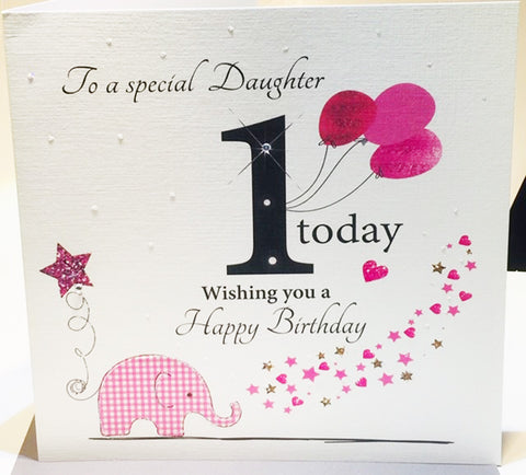 Happy 1st Birthday Card For A Special Daughter - HerbysGifts.com