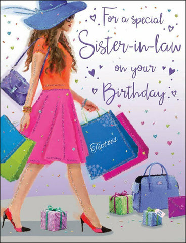 Sister-in-Law Birthday Card - Shopping Bags - HerbysGifts.com