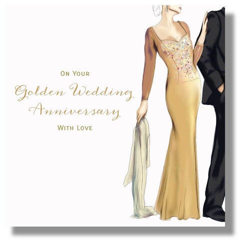 Golden Wedding Anniversary Card - HerbysGifts.com - 8.25 x 8.25 Inches