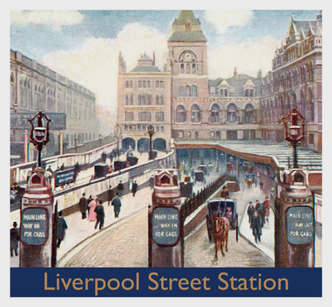 Liverpool Street Station Greeting Card - 6.5 x 6 Inches - HerbysGifts.com