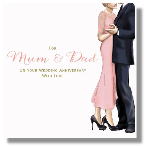 Mum and Dad Wedding Anniversary Card - HerbysGifts.com - 8.25 x 8.25 Inches