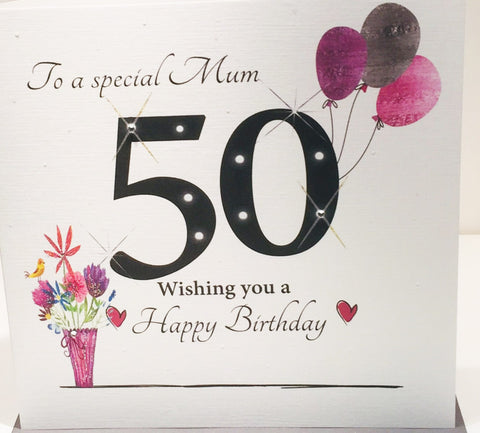 Large Happy 50th Birthday Card Mum - 8.25 x 8.25 Inches - HerbysGifts.com