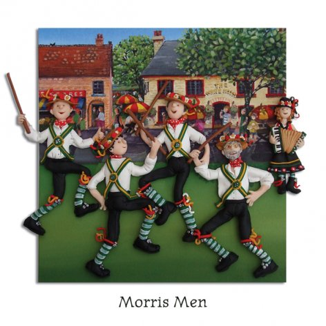 Morris Men - Folk Dancers Greeting Card - HerbysGifts.com