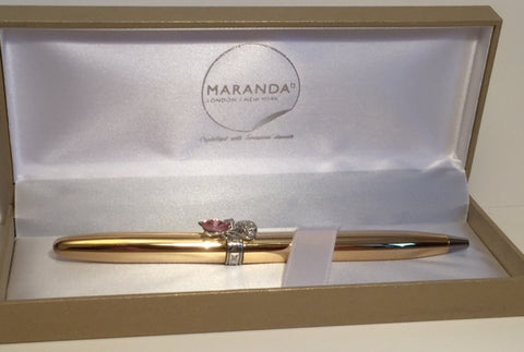 Maranda-Ti Gold Colour Cat Crystal Studded Ballpoint Pen - HerbysGifts.com