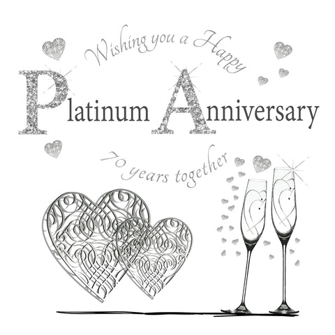 Platinum Wedding Anniversary Card - 70 Years - HerbysGifts.com