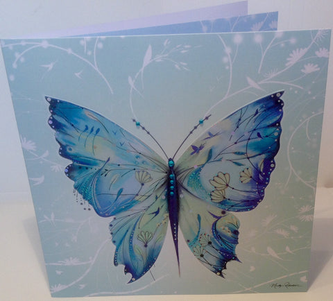 Arabesque Kimono Painted Silk Butterfly Greeting Card - HerbysGifts.com
