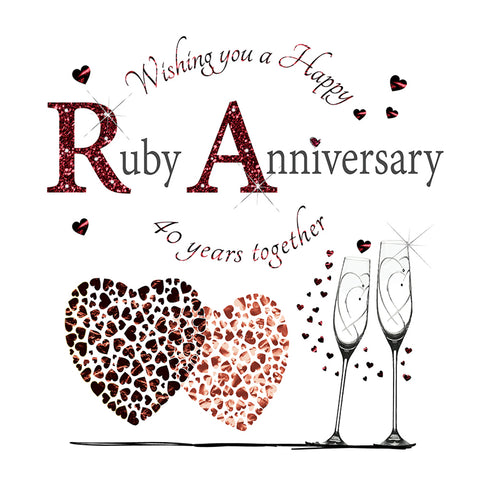 Ruby Wedding Anniversary Card - 6 x 6 Inches - HerbysGifts.com