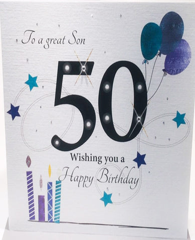 Large 50th Birthday Card Son - 8.25 x 8.25 Inches - HerbysGifts.com