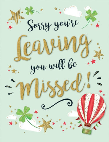 Sorry You`re Leaving Card - HerbysGifts.com
