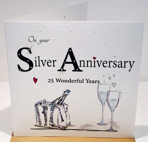 25th Wedding Anniversary Card - Silver -  HerbysGifts.com
