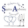 Sapphire & Steel Wedding Anniversary Card - HerbysGifts.com - 6 x 6 Inches