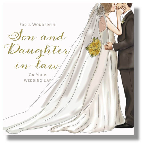 Son and Daughter in Law Wedding Day Card - HerbysGifts.com - 8.25 x 8.25 inches