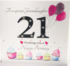 Large 21st Birthday Card - Granddaughter - 8.25 x 8.25 Inches - HerbysGifts.com