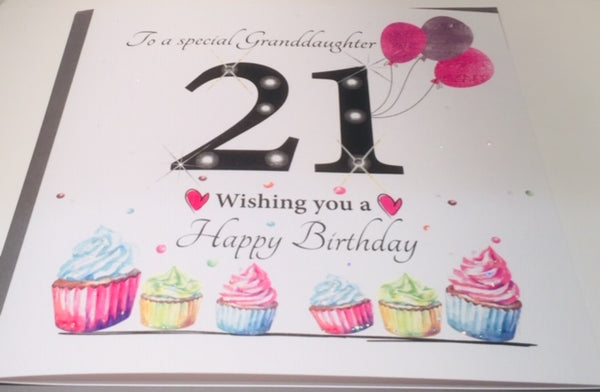 8.25 x 8.25 Inches LARGE 21st Birthday Card For A Special Granddaughter