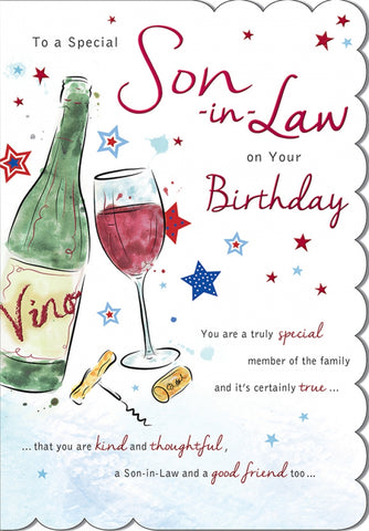 Son In Law Birthday Card - 9 x 6 Inches - HerbysGifts.com