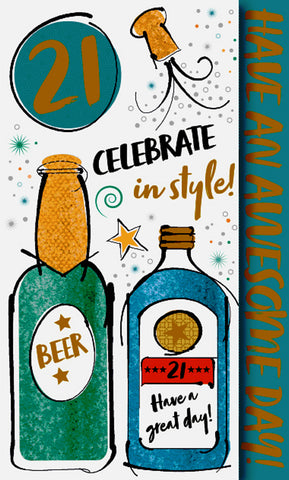 21st Birthday Card Male - Beer - HerbysGifts.com