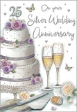 25th Silver Wedding Anniversary Card - HerbysGifts.com