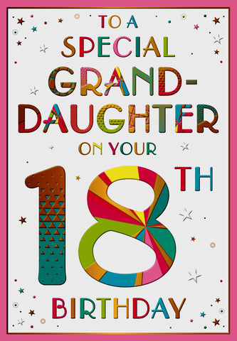 Granddaughter 18th birthday card - HerbysGifts.com