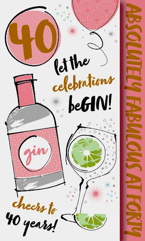 40th Birthday Card Female - Gin - HerbysGifts.com