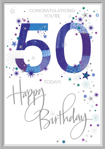50th birthday card man - Words and Wishes