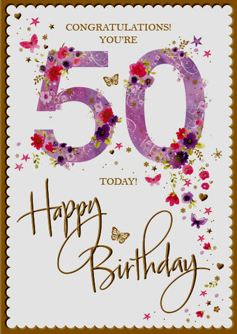 50th Birthday Card Woman - Words and Wishes
