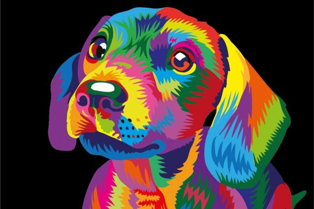 DIY Painting By Numbers – Colorful Cute Dog (16″X20″ / 40x50cm)