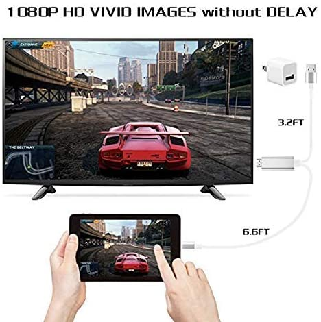 Compatible with iPad iPhone to HDMI Adapter Cable, Kinwal 6.6ft HDMI TV Cable, Digital AV Adapter Cord Support 1080P HDTV Compatible with iPhone 11 Pro Xs MAX XR X 8 7 6 to TV Projector