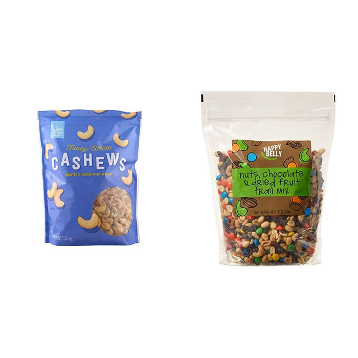 Happy Belly Fancy Whole Cashews, 44 Ounce & Happy Belly Nuts, Chocolate & Dried Fruit Trail Mix, 48 oz