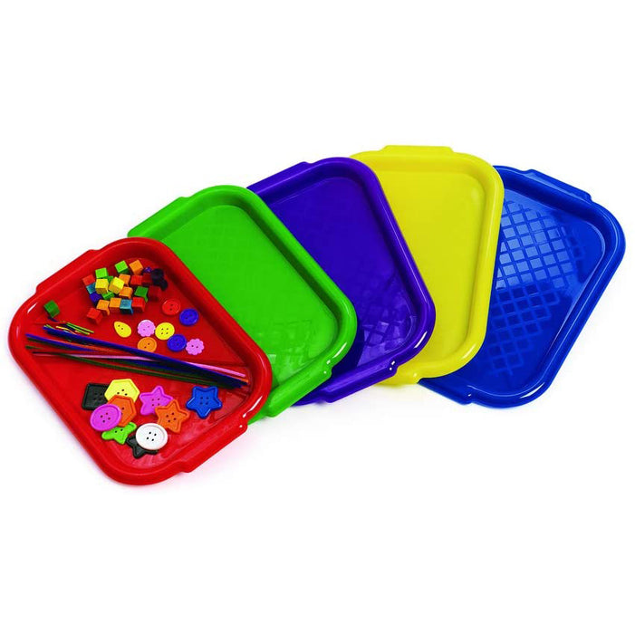 Colorations Versatile and Durable Plastic All-Purpose Trays for Home and School - Set of 5