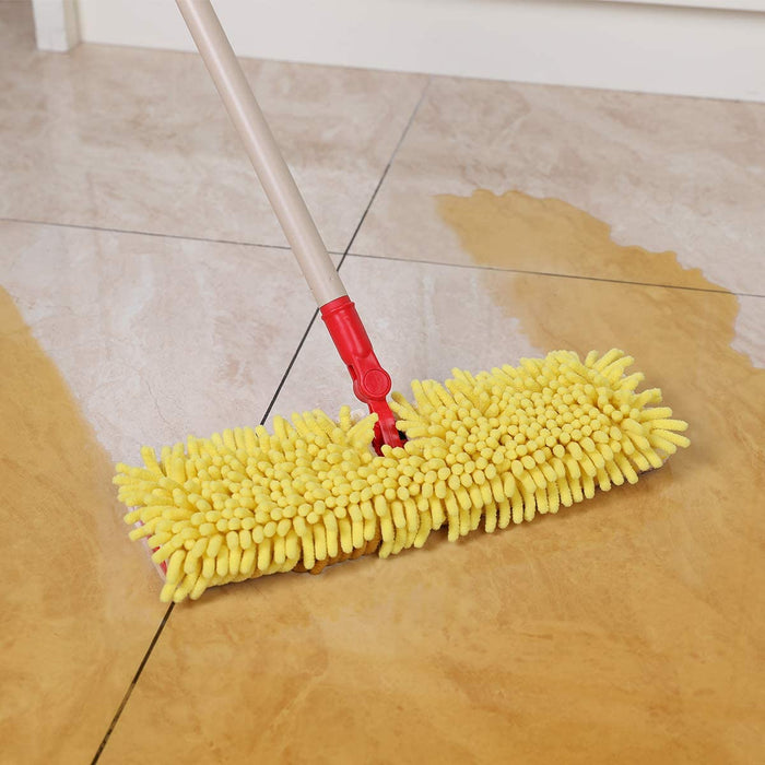 CLEANHOME Microfiber Flip Mop  with 2 Washable Mop Pads-Professional Hardwood Floor Dust Mop-360 Dry and Wet Cleaning Mopping,Yellow