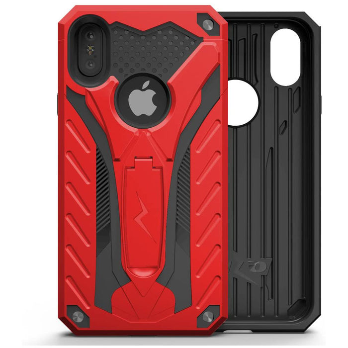 ZIZO Static Series for iPhone X case with Kickstand Military Grade Drop Tested Impact Resistant Heavy Duty Case iPhone Xs RED Black