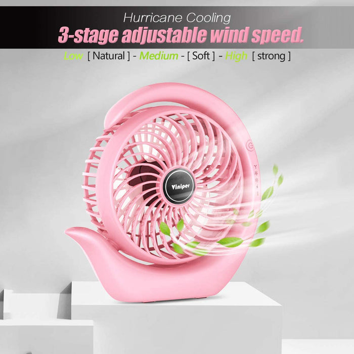 USB Desk Fan : 180° Rotation and 3 Speeds Strong Wind Portable Quiet Fan (6.2 inch, Classic Pink)