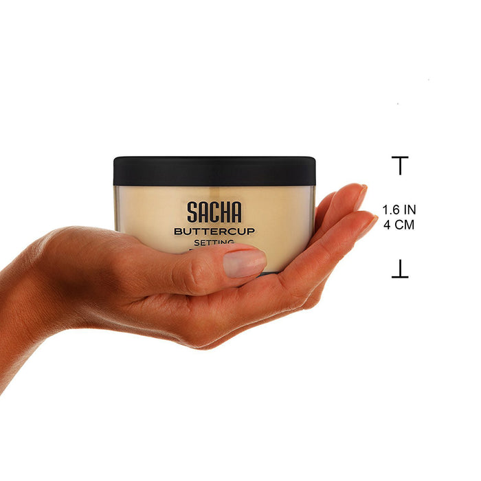 Sacha Buttercup Setting Powder. No Ashy Flashback. Blurs Fine Lines and Pores. For Medium to Dark Skin Tones, 1.25 oz.