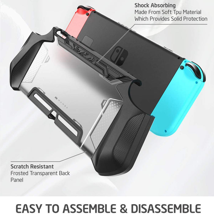 Mumba Dockable Case Compatible for Nintendo Switch, [Blade Series] TPU Grip Protective Cover Case with Ergonomic Design and Comfort Grip