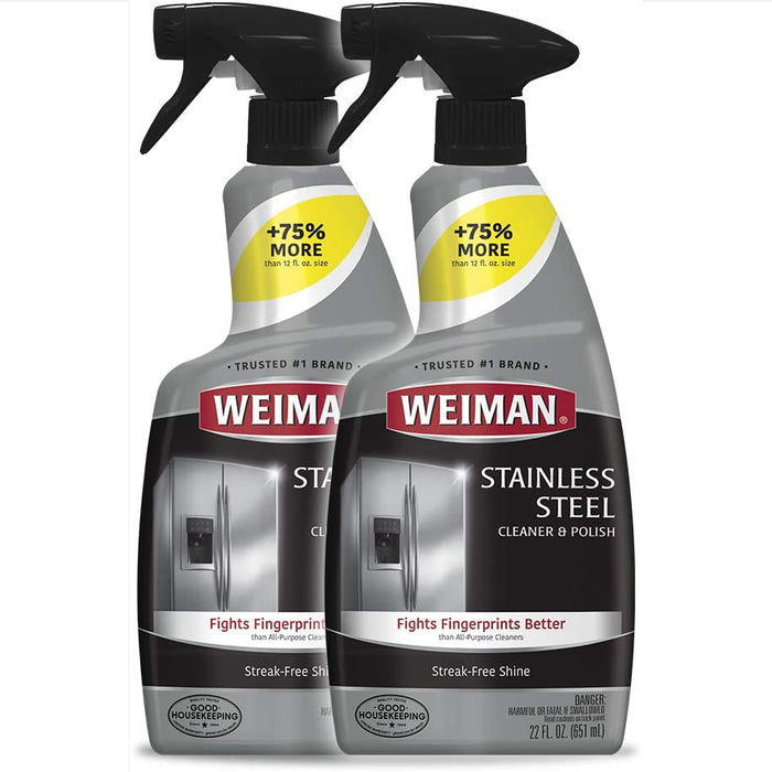 Weiman Stainless Steel Cleaner and Polish - 22 Ounce (2 Pack)  - 44 Ounce Total