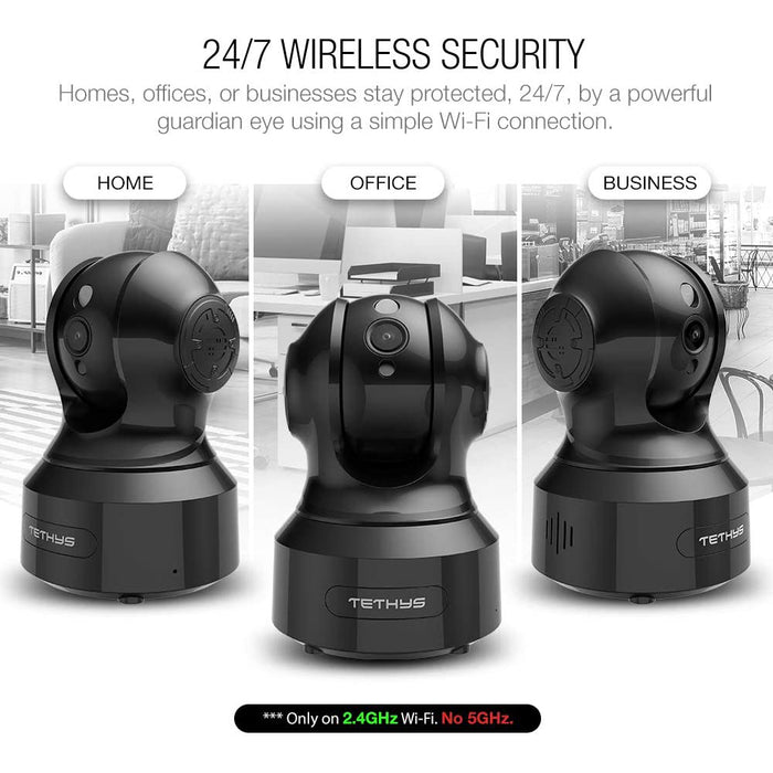 TETHYS Wireless Security Camera 1080P Indoor [Work with Alexa] Pan/Tilt WiFi Smart IP Camera Dome Surveillance System