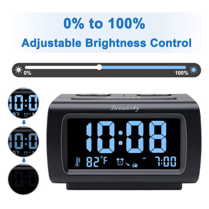 USB Port for Charging, 1.2 Inch Blue Digit Display with Dimmer, Temperature Display, Snooze, Adjustable Alarm Volume