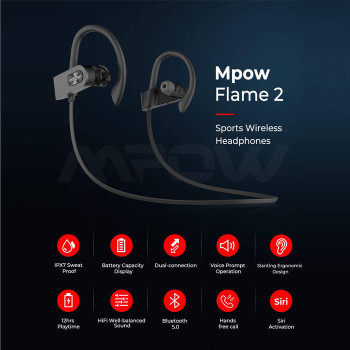 Mpow FLAME2 Bluetooth Headphones Sport, 12Hrs & Bluetooth 5.0 Wireless Sport Earphones, IPX7 Waterproof Bluetooth Headset, Black