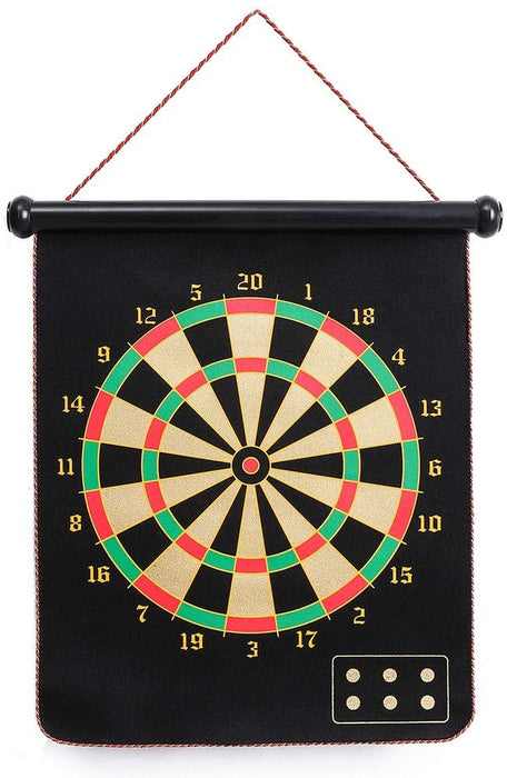 CX L SUM Magnetic Dart Board, Indoor Outdoor Dart Games for Kids with 12pcs Magnetic Darts, Rollup Double Sided Board Game Set