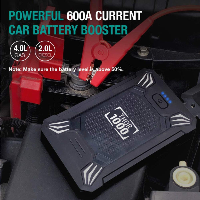 Car Battery Jump Starter Portable - 600A Peak Waterproof 12V Portable Battery Booster Pack (up to 4.0L Gas Or 2.0L Diesel Engine)