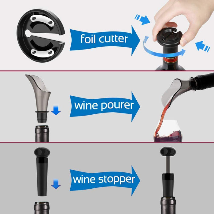 Toyuugo Electric Wine Opener, Automatic Corkscrew set contains Foil Cutter, Vacuum Stopper and Wine Aerator Pourer  (3 Piece Gift Set)
