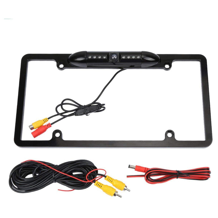 License Plate Frame Backup Camera Night Vision Car Rear View Camera with 8 Bright LEDs 170° Viewing Angle Waterproof Backup Camera Vehicle Universal Reversing Assist Security